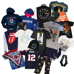 Concert t-shirts, band hoodies, NFL pajamas, and more