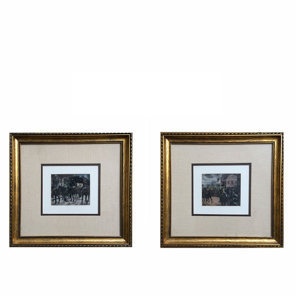 Set of 2 Framed Color Engraving/ Etchings 1885 Thulstrup Repro