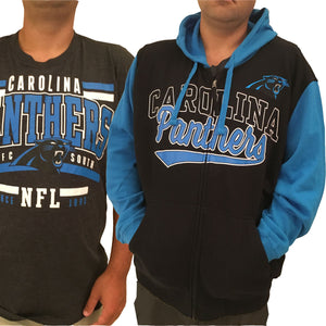 Men's Carolina Panthers Full Zip Hoodie & FREE T-SHIRT