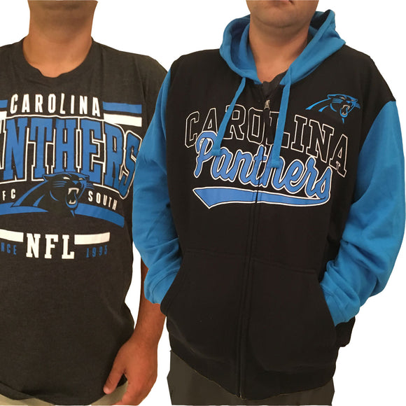 Men's Carolina Panthers Full Zip Hoodie & FREE T-SHIRT - 2X