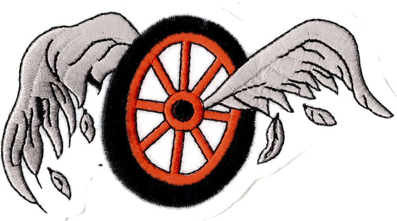Flying Wheel embroidered iron on patch