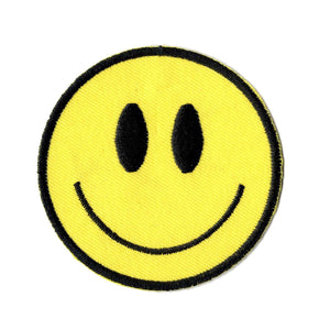Smiley face embroidered iron on patch