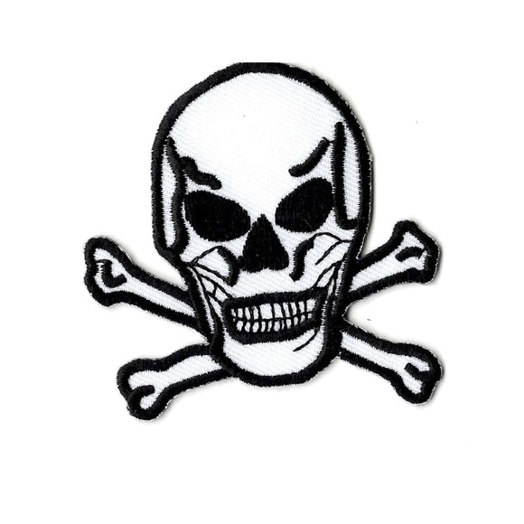 Skull and Cross bones embroidered iron on patch, white