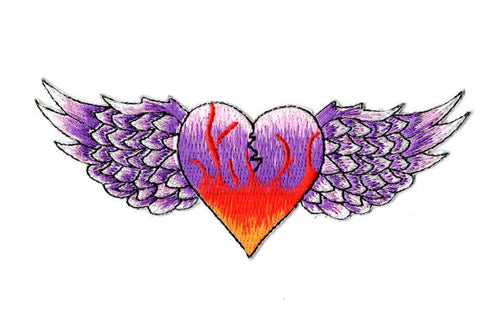 Flying Heart Embroidered Iron On Patch - Rock N Sports