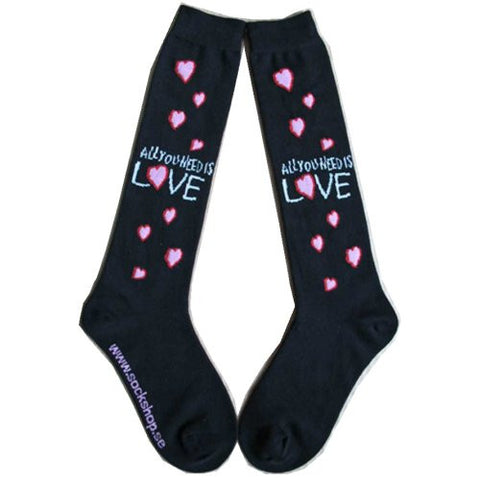 All You Need Is Love Ladies Knee High Socks - Rock N Sports