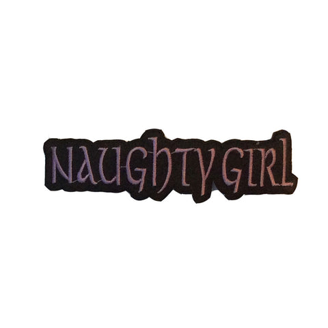 Naughtly Girl Embroidered Iron On Patch - Rock N Sports