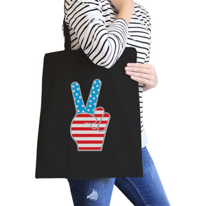 Peace Sign American Flag Tote Bag