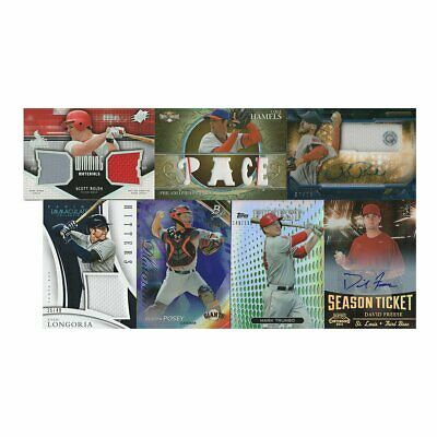 7 Card MLB Lot Baseball Cards Sports Game Worn Jersey Serial Number