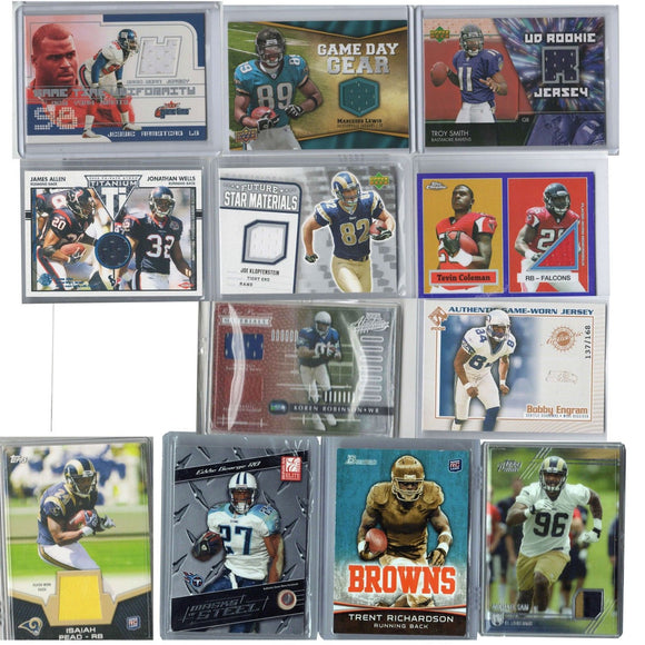 Lot of 12 NFL Football Cards Authentic Jersey Material