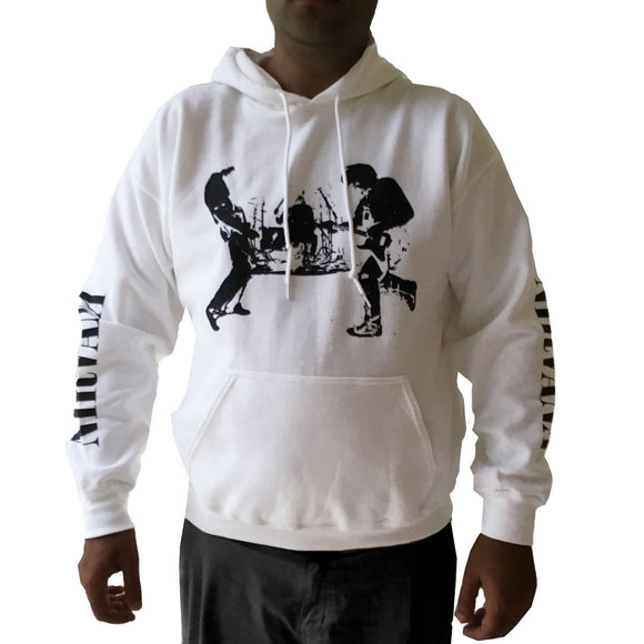 Men's Nirvana Band White Silhouette Pullover Hoodie