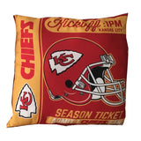 "NFL Kansas City Chiefs Pillow 2-Sided Season TIcket 22"" x 22""  Red Gold"