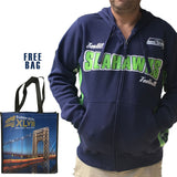 NFL Seattle Seahawks Mens Full Zip Hoodie Sweatshirt New XL-2X + FREE BAG