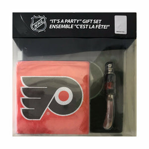 Philadelphia Flyers hostess Gdynia set with logo napkins and a Flyers spreader