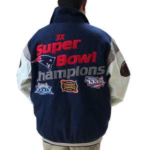 New England Patriots Jacket Wool Leather Super Bowl Champions