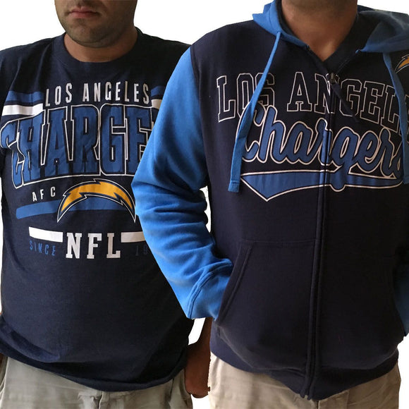 Men's Los Angeles Chargers Full Zip Hoodie  & FREE T-SHIRT