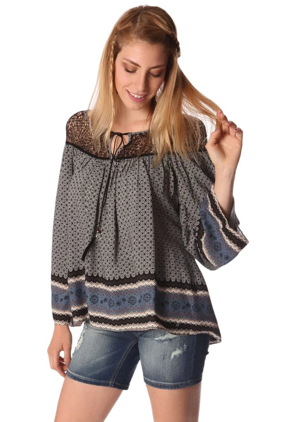 Gray Paisley Print Blouse With Cage Lace Neckline