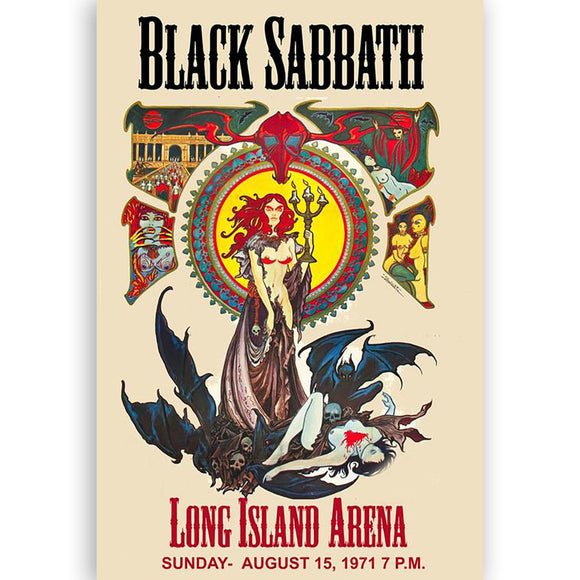 Black Sabbath Concert Poster Long Island Arena 1971, Reprint