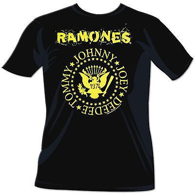 "Ramones 1974 ""Hey Ho, Let'S Go"" Yellow Logo T-Shirt - Rock N Sports"