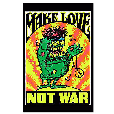 Make Love Not War Psychedelic Poster - Rock N Sports