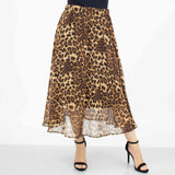 Leopard Animal Print Flare Midi Skirt