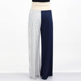 High Waist Color Block Comfortable Maxi Pants