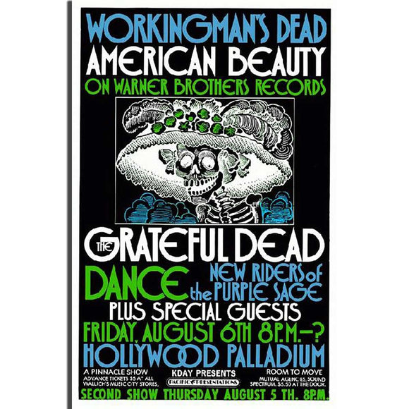 Grateful Dead Concert Poster, Hollywood Palladium 1970