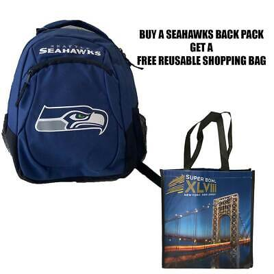 Seattle Seahawks Youth Primetime Backpack & Free Superbowl Tote Bag