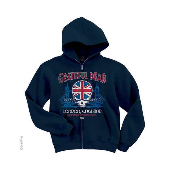 Grateful Dead Navy Blue Full Zip Hoodie, London 1972 - Rock N Sports