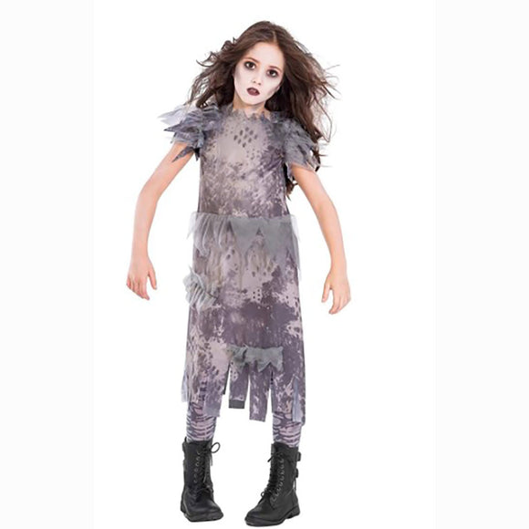 Girls Ghostly Zombie Dress Costume (8-10 yrs)