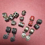 16 Mixed Heart European Jewelry Beads, Platinum & Enamel Color Plated