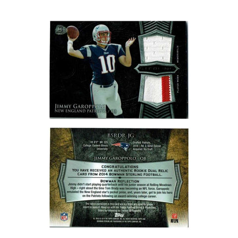 2014 Bowman Sterling Jimmy Garoppolo Rookie Card Dual Relic Jersey's