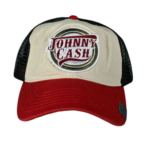 Johnny Cash Snap Back Tri-Colored Logo Trucker Hat