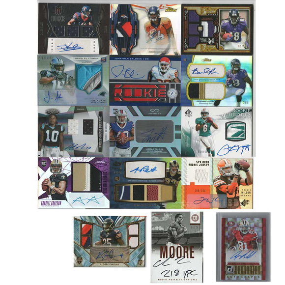 15 Card NFL Lot - Autographed Jersey S/N Football Cards, 2006-2016