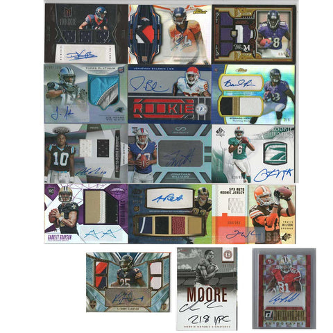 14 Card Lot  Autographed Rookie Football Cards