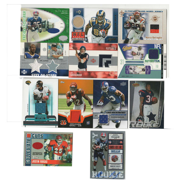 11 NFL Game-Worn Jersey Football Cards plus 1 Autographed Card