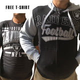 Men's Oakland Raiders Full Zip Hoodie & FREE T-SHIRT