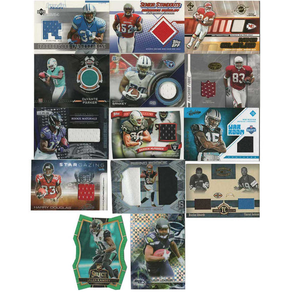 14 Football Cards with jersey patches