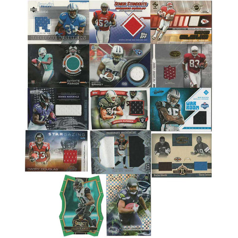 14 Card Lot - NFL game-worn jersey Football Cards, 2001-2017