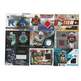 Football cards with game worn memorabilia