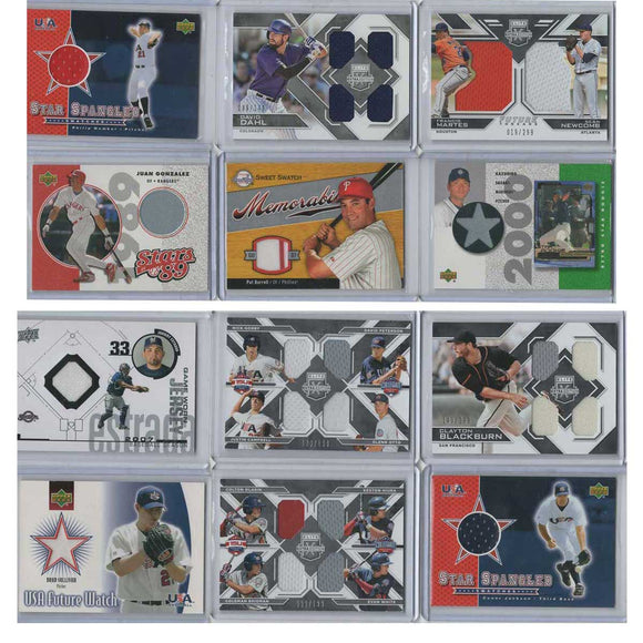 12 Card Lot -Baseball Jersey Cards USA College Prospects & Rookies