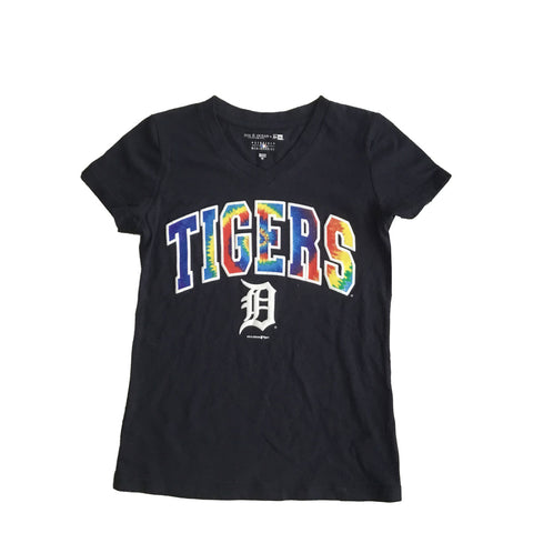 Girls Royal Blue Detroit Tigers  T-Shirt Tie-Dye Letters V-Neck