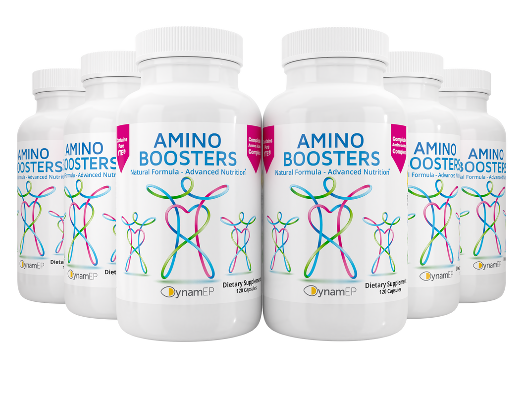 6 x AminoBoosters Supplement w/ YTE energy booster, younger cells, stress, anxiety, collagen, immune system support, clinical dose Norwegian Young Tissue Extract & botanicals