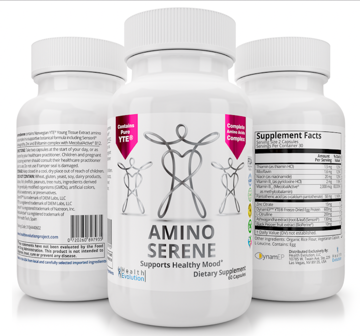 3 x NEW AMINOSERENE ADVANCED SUPPLEMENT W/ YTE TO CALM ANXIETY, LOOK AND FEEL YOUNGER, MANAGE STRESS, COLLAGEN, IMMUNE SYSTEM, NORWEGIAN YOUNG TISSUE EXTRACT, NON-DAIRY, VEGETARIAN
