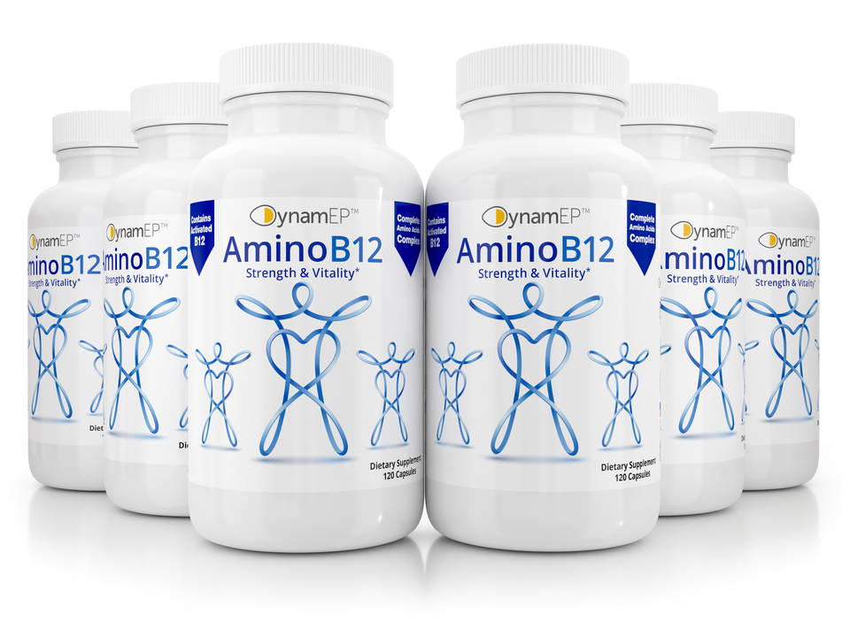 6 x AminoB12 Supplement w/ YTE for stress management, reduce anxiety, more energy, vitality, most active B12, immune system support, clinical dose Norwegian Young Tissue Extract