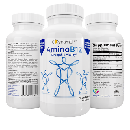 AminoB12 - Triple Pack - for Vitality with DynamEP™ YTE®, MecobalActive® B12, & BioPerine®