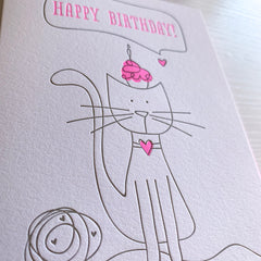 Cat And Cupcake Birthday Card