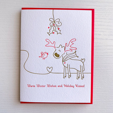 Moose Mistletoe Holiday Card