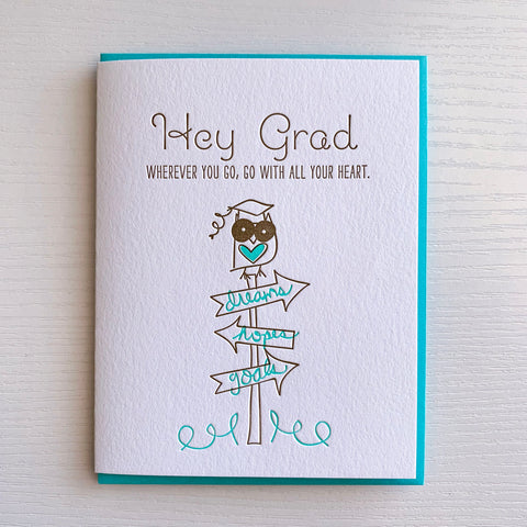 Go With All Your Heart Owl Graduation card
