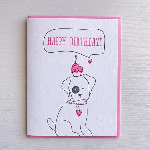 Cupcake Dog Birthday card