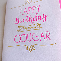 Cougar Birthday Card
